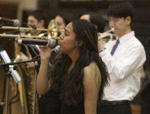 Josette Diaz leading the band at Dancing with The Stars 10 at Cresskill HS